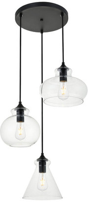 "Elegant Furniture & Lighting 18.5"" Retro Modern 1-Light Pendant With Clear Glass, Black"