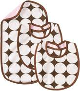 Bacati Dots Pink/chocolate Bibs and Burps Set