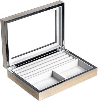 Bey-Berk Lacquered Silver Walnut Wood Valet Box