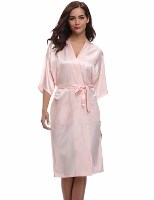Aibrou Women's Kimono Robe Long Dressing Gown Long Classic Satin Wedding Kimono Nightwear Dark Blue