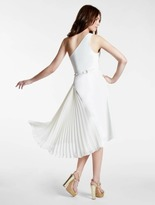 Halston One Shoulder Crepe Georgette Combo Dress