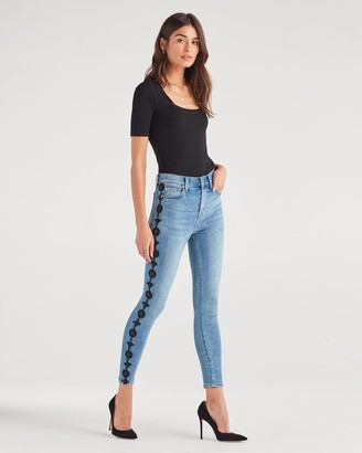 7 For All Mankind Luxe Vintage High Waist Ankle Skinny with Side Floral Aplique in Beau Blue