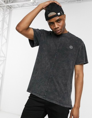 Religion longline t-shirt with cut and sew acid wash in black