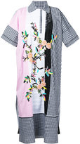Antonio Marras floral embroidered gingham shirt dress