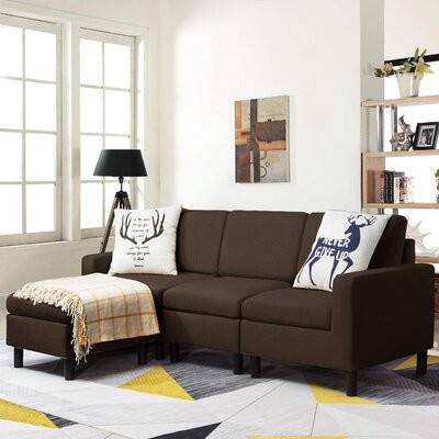 """Thumbnail for your product : Corrigan Studio Mirac 77"""" Wide Sofa & Chaise with Ottoman Fabric: Brown Cotton Blend"""