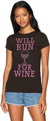 Chin Up Chin-Up Women's Run for Wine Crew Neck Graphic T-Shirt
