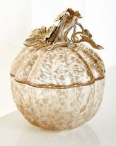 Jay Strongwater Large Leaf and Vine Gilded Glass Jar