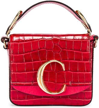 Chloé Mini C Embossed Croc Box Bag in Dusky Red | FWRD