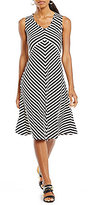 Jones New York Mitered Stripe Knit Jersey A-Line Dress