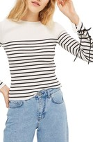 Topshop Women's Lace-Up Sleeve Sweater