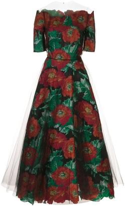 Oscar de la Renta floral-jacquard tulle A-line dress