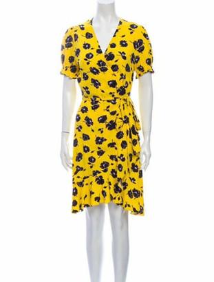 Diane von Furstenberg Floral Print Knee-Length Dress Yellow