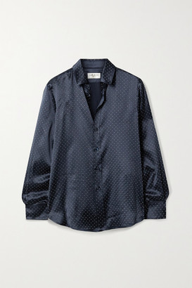 Saint Laurent Studded Silk-satin Shirt - Midnight blue