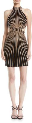 Jovani Striped Halter Dress w/ Cutouts