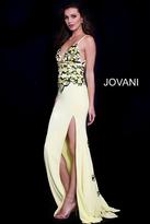 Jovani 59594 Plunging V-Neck Strappy Floral Jersey Dress