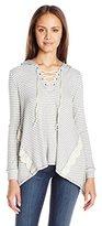 Jolt Women's Lace up Hooded Striped Sweatshirt