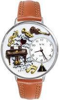 Whimsical Watches Personalized Piano Music Womens Silver-Tone Bezel Tan Leather Strap Watch
