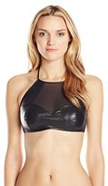 Luli Fama Women's Thunderball Mesh Cutout High Halter Bikini Top