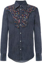 DSQUARED2 western micro floral denim shirt