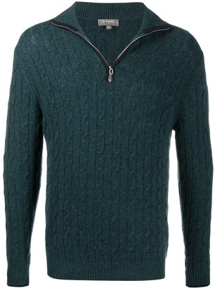 N.Peal Cable-Knit Zipped Cashmere Jumper