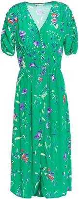 Maje Gathered Printed Crepe Midi Dress