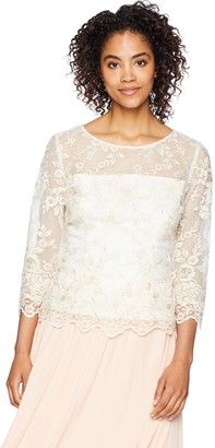 Alex Evenings Women's 3/4 Sleeve Embroidered Blouse with Scallop Detail