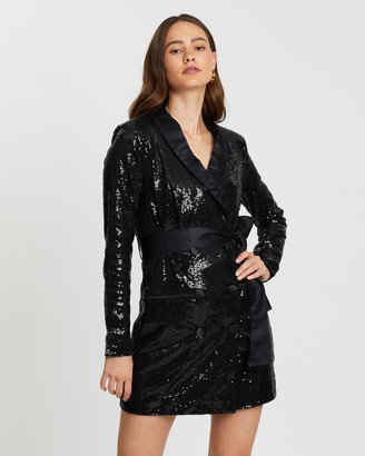 Atmos & Here Sequin Tuxedo Long Sleeve Dress