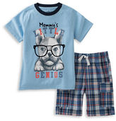 Kids Headquarters Baby Boys Two-Piece Graphic Tee and Plaid Shorts Set