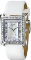 Burgi Women's BUR088WT Swiss Quartz Crystal Mother-of-Pearl White Leather Strap Watch