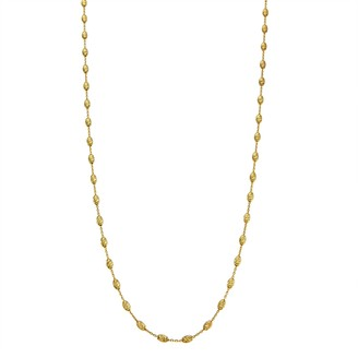 Primavera 24k Gold Over Silver Oval Beaded Station Chain Necklace