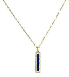 Jennifer Meyer Diamond Lapis Inlay Long Bar Pendant - Yellow Gold