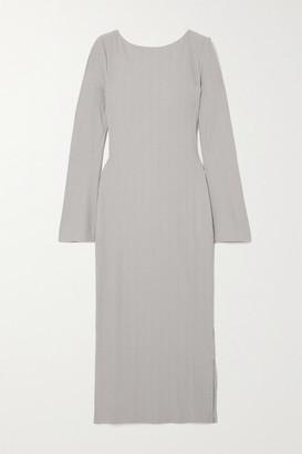 Reformation Nessa Draped Ribbed Jersey Midi Dress