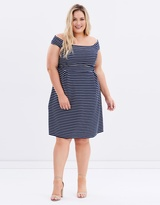 Ribbed Stripe Fit-and-Flare Dress