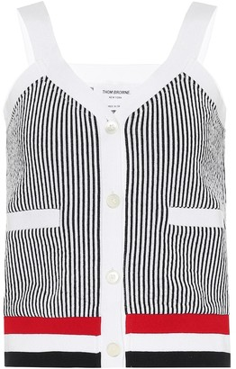 Thom Browne Striped cotton-jersey tank top
