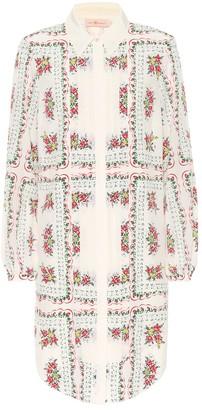Tory Burch Cora floral silk mini shirt dress