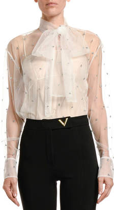 Valentino Jeweled Tulle Bow-Neck Blouse