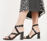 Office Maroon Strappy Block Heels Black