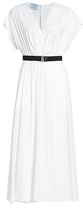Prada Fluid Jersey Belted Midi Dress