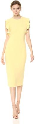 Carmen Marc Valvo Women's Crepe Cocktail Dress w/Short Ruffle Sleeves