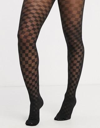 Gipsy checkerboard tights in black