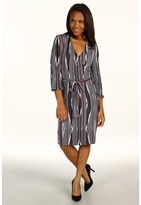 Calvin Klein Jeans L/S Neo Stripe Wrap Dress (Black) - Apparel