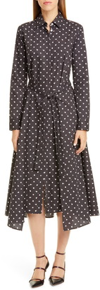 Rosetta Getty Dot Print Long Sleeve Apron Wrap Midi Dress