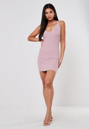 Missguided Pink Scallop Hem Knitted Mini Dress