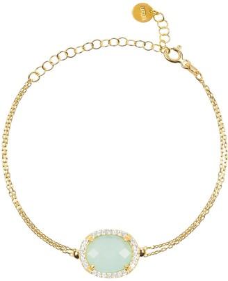 Latelita Beatrice Oval Gemstone Bracelet Gold Aqua Chalcedony
