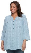 Croft & Barrow Plus Size Printed Roll-Tab Henley Shirt
