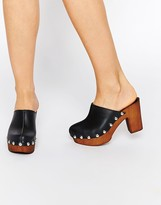 Asos OHIO Leather Clog Heels