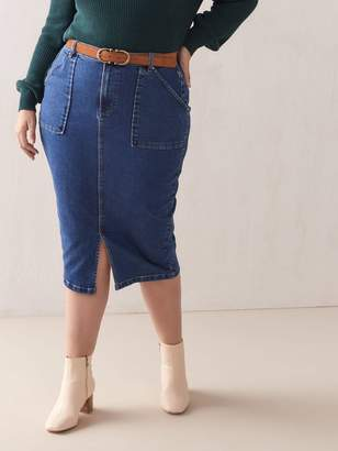 Dark Jean Pencil Skirt - Addition Elle