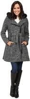 Steve Madden Wool Blend Asymmetrical Zip Hooded Coat