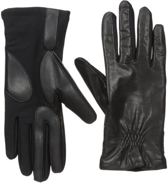 Isotoner Women's Classic Stretch Leather Touchscreen Cold Weather Gloves Fleece Lining