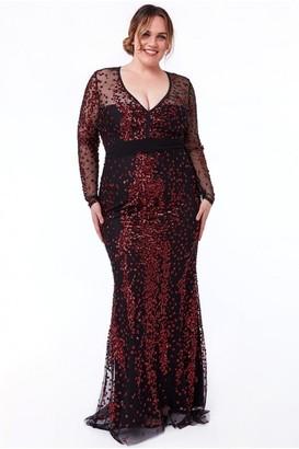 Goddiva Plus Spread On Sequin Maxi With V Neck Dress - Wine